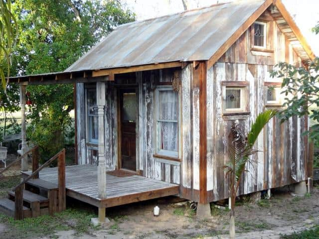 This tiny house in Mission, TX is made almost entirely from salvaged wood.