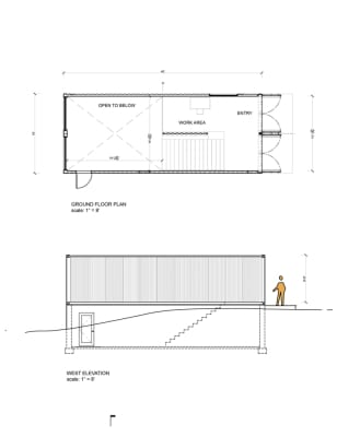 MB Arch_Container Studio_Upper level plan & side elevation
