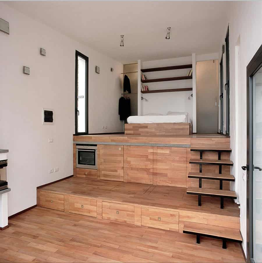 Hidden Kitchen This Terraced Studio Reveals A Hidden Kitchen Tiny House For Us