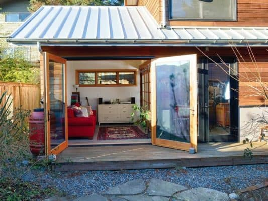 Salvaged Style 550sf Backyard Cottage Built With Blue