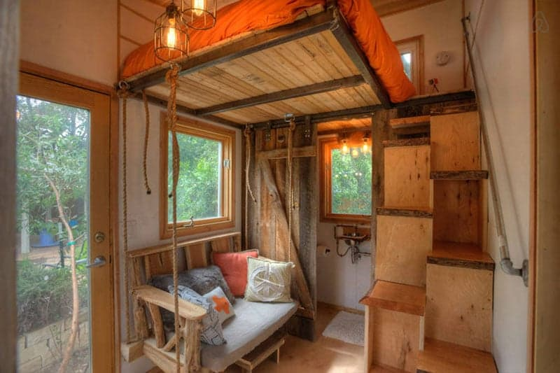 tiny backyard home with floating loft brings the colorado rockies to texas. Black Bedroom Furniture Sets. Home Design Ideas