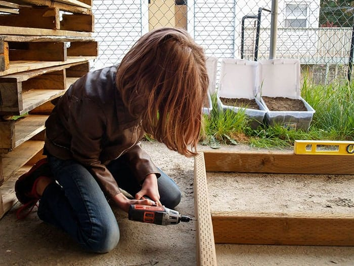 In her spare time she works to build mobile shelters to donate to the homeless.