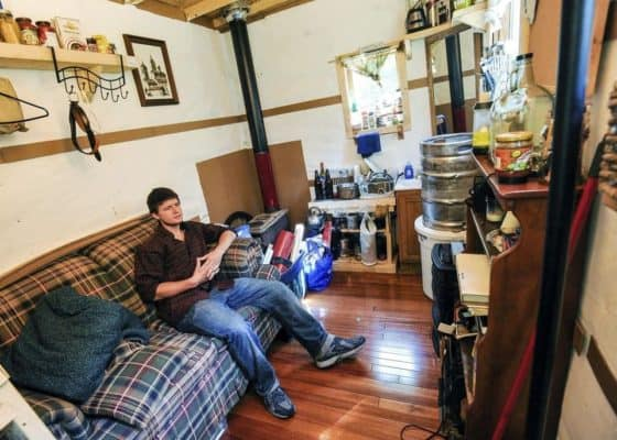 College Student Living Rent-Free In His 96sf Offgrid Tiny House