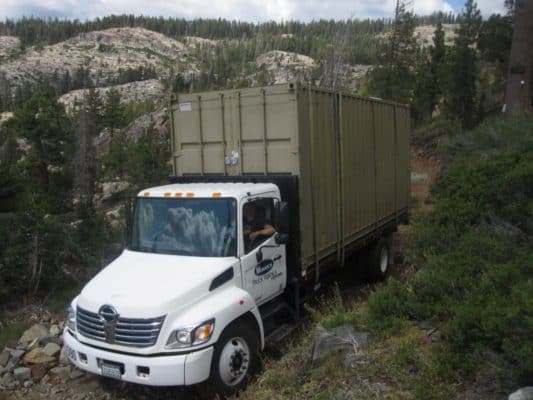 Container-Cabin-Tahoe-National-Forest-Delivery-Day