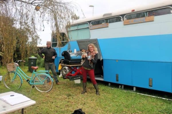 Rusty Old School Bus Converted Into An Epic Blue Motorhome