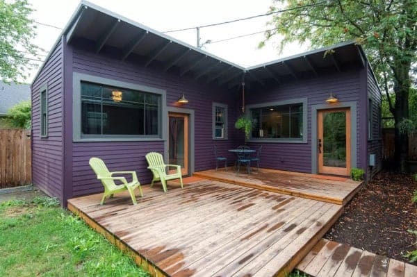 Tiny Home Designs: This Purple Backyard Cottage Might Be Tiny But It Feels