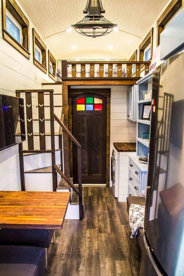 art nouveau stained glass and smart home tech in tiffany the tiny home